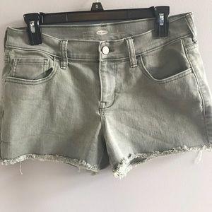 Old navy olive denim shorts with distressed hem